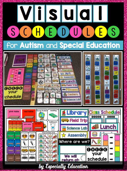 """Cover of the Especially Education """"Visual Schedules for Autism and Special Education"""" from Teachers Pay Teachers"""