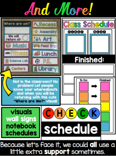 """Inside the Especially Education """"Visual Schedules for Autism and Special Education"""" from Teachers Pay Teachers"""