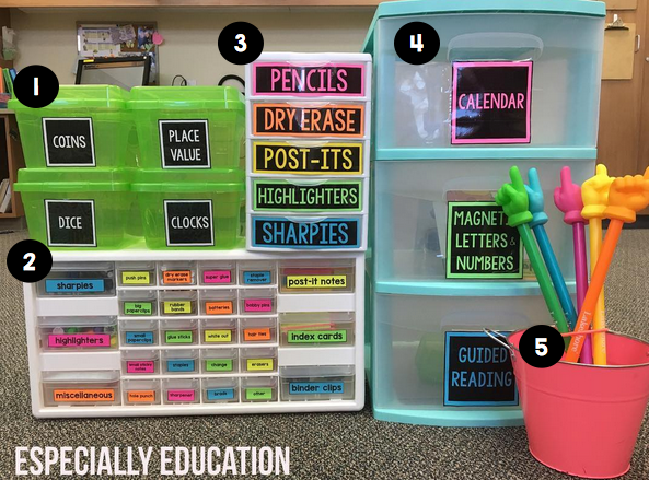 Organized and colorful bins and drawers in my classroom