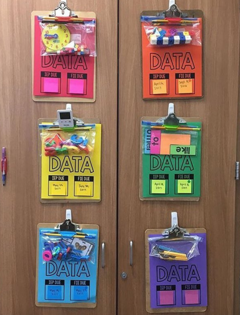 "Data Sheets on Astrobrights inside ""data bags"" - ziploc bags with materials to assess student goals hung on cabinet doors"