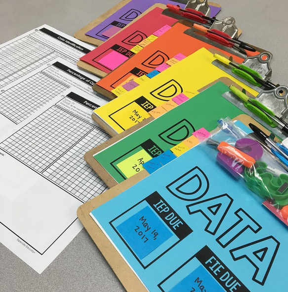 Data Sheets printed on Astrobrights attached to clipboards with materials to assess student goals
