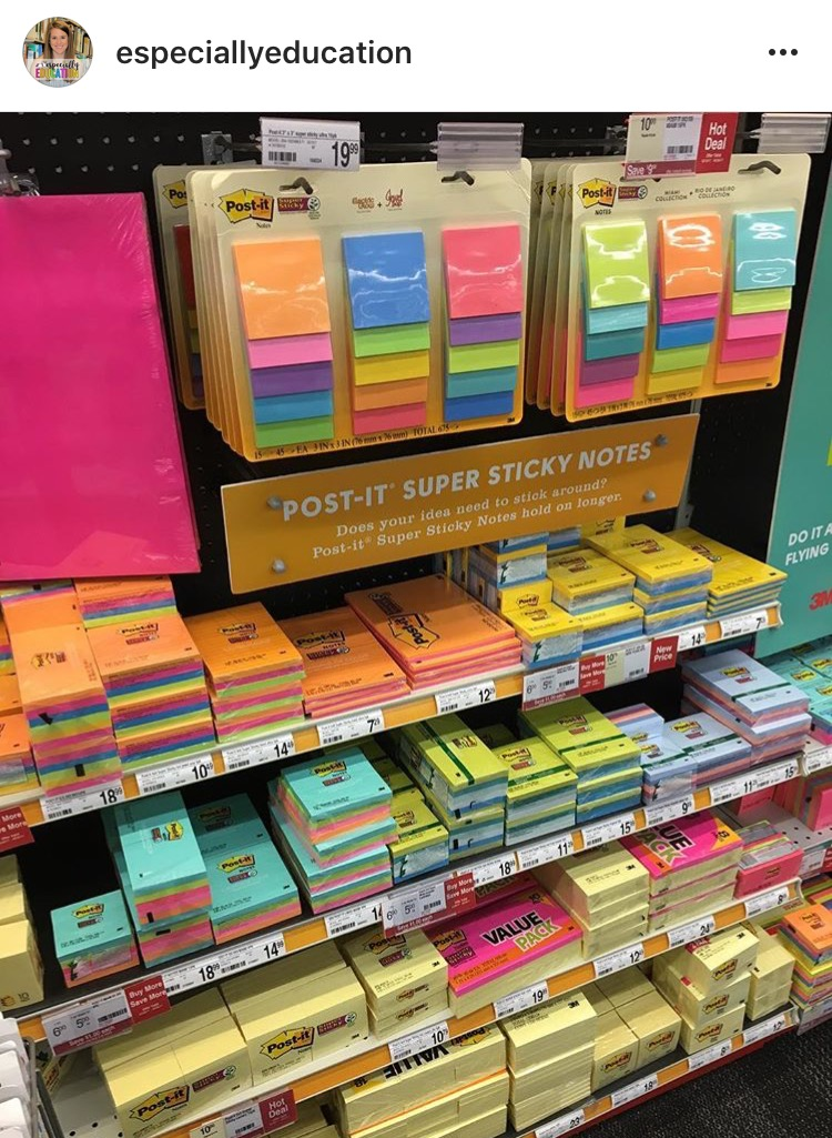 A store's display of colorful PostIt Notes