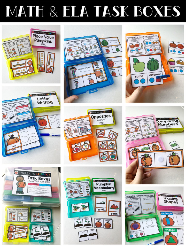 Made For Me Literacy Math and ELA Task Boxes