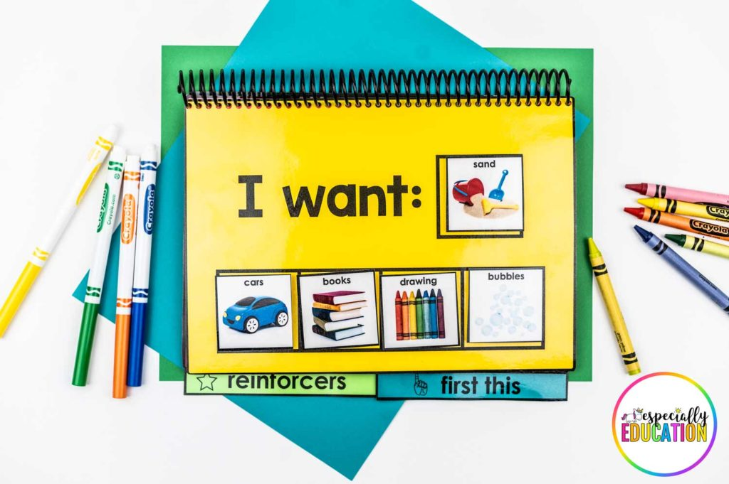 Laminated spiral bound book with cards displaying choices