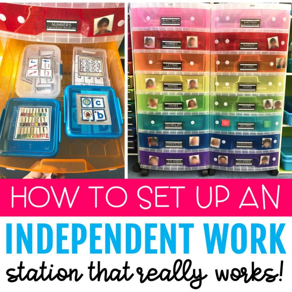Colorful plastic boxes and drawers filled with Especially Education task box materials.