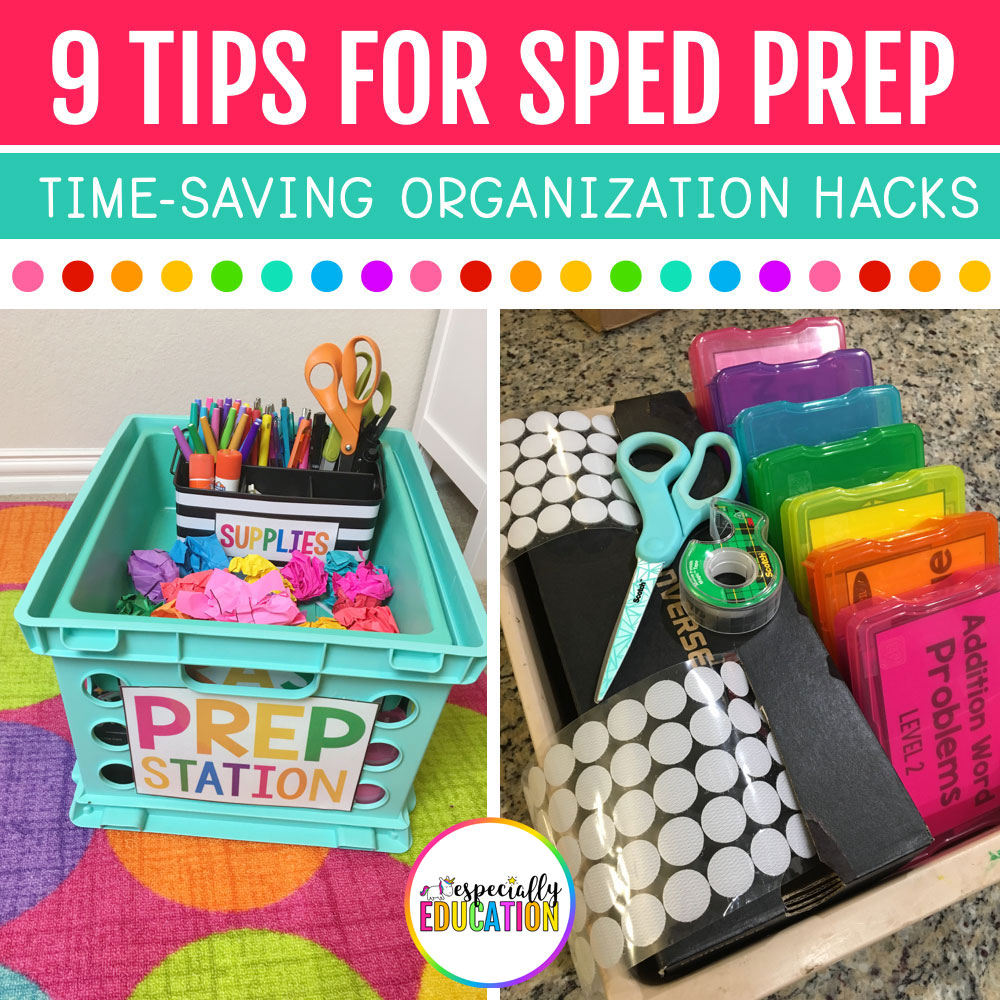 A special education teacher's colorful prep station with colorful organized task boxes and office supplies