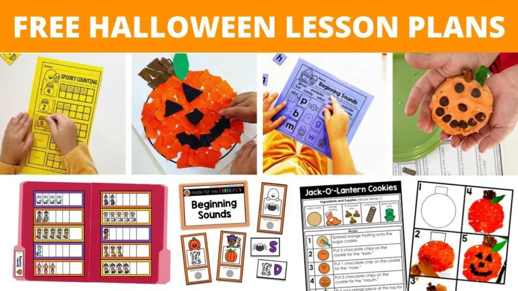 A variety of Halloween themed worksheets, pumpkin crafts, task boxes, file folders and visual recipes with a young child holding a Jack-O-Lantern frosted cookie are included in this free Halloween lesson plans for kids.